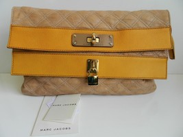 Marc Jacobs Bag Oversized Pouchette Clutch Quilted Leather Apricot Mint ... - $351.82