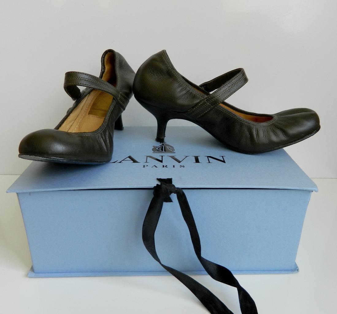 LANVIN Ballet Pump Mary Jane Heels Khaki Leather Shoe 36 6 In Box