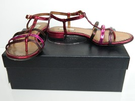 Prada Sandals Metallic Pink Leather T-Strap Silk Folk Flat Shoes 36 Box ... - $179.95