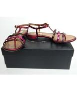 Prada Sandals Metallic Pink Leather T-Strap Silk Folk Flat Shoes 36 Box ... - $179.95