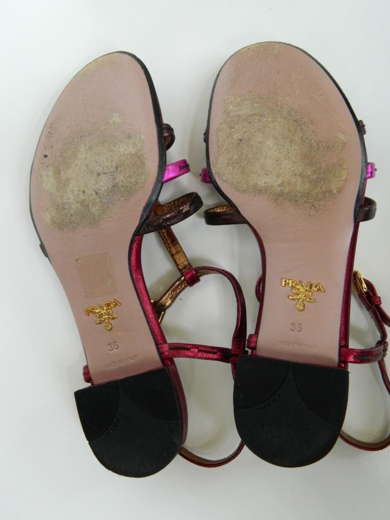 Prada Sandals Metallic Pink Leather T-Strap Silk Folk Flat Shoes 36 Box Great