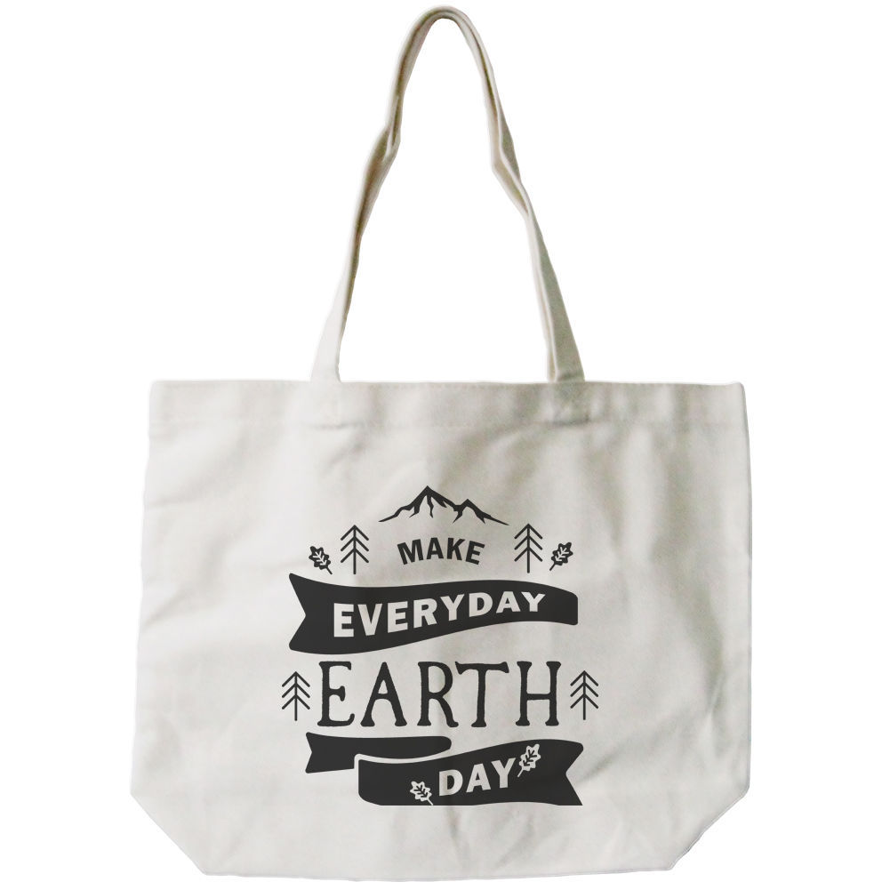 Make Everyday Earth Day Canvas Bag Natural Canvas Tote Cute Book Bag for School