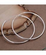 925 Sterling Silver Ear studs Hoop Round Earrings 2 inch fashion jewelry... - $9.99
