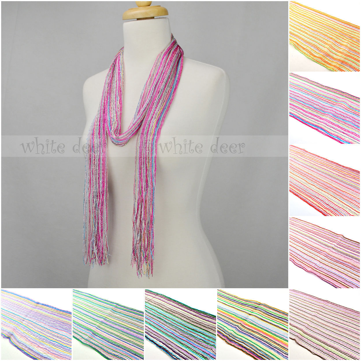 Primary image for 12 PCs Wholesale Women Crochet Bling Shine Thread Multi Color Knitted Scarf Belt