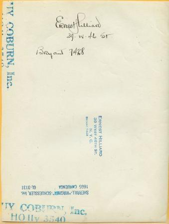 Ernest Hilliard Signature c.1922 Silent Original Photo