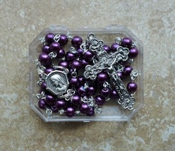Silver Prayer Rosary Beads - Our Lady of Lourdes / 6mm Purple Pearl Glas... - $19.95