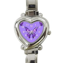 Ladies Heart Italian Charm Watch Purple Butterfly Fly Insect Gift model ... - $11.99