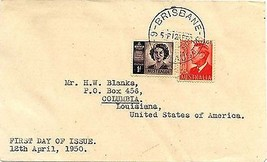 1950 Brisbane 1st Day Issue George VI 2 1/2 d - $4.90