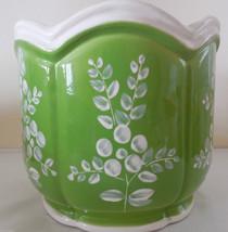 Vee Jackson California Pottery Green & White Pl... - $29.69