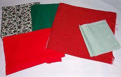 Mixed lot of 5 solid & print fabric pieces + bonus - $5.89