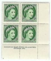 1954 MINT Plate Block of 4 Elizabeth Canadian 2 cent - $5.89