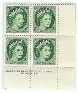 1954 MINT Plate Block of 4 Elizabeth Canadian 2 cent - €4,94 EUR