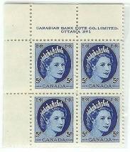 1954 MINT Plate Block of 4 Elizabeth Canadian 5 cent - $5.89