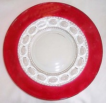 Indiana Glass King's Crown (Thumbprint) Pattern #77 Plate ruby/cranberry stained - $8.86