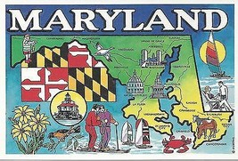 1980's Maryland State Map Card - $2.92