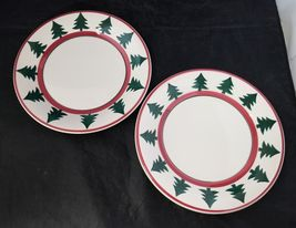 "Pier 1 Christmas Tree Dinner Plates Set of 2 Made in Italy 9.75"" White Red Trim image 6"