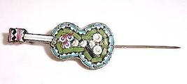 Italian Jade & Turquoise Micromosaic Guitar shaped pin - $34.60