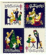 1961 Block of 4 Christmas Seals (left edge sheet) - $2.93 CAD