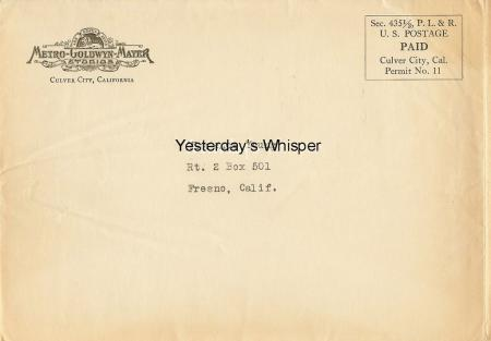 John Gilbert Original Fan Photo & MGM Studio Envelope