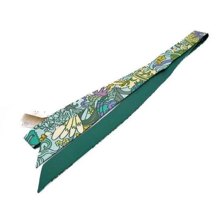 Hermes Tsuiri Tsuiron 2018 scarf silk green Auth