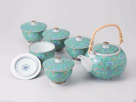 [Value] Hasami Porcelain : Green Arabesque - Kyusu Tea pot & 5 tea cup S... - $327.25