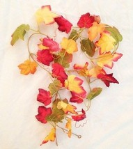 Silk Reusable 6' Autumn Green Orange-Gold Garland Vine of Maple Leaves - $8.59