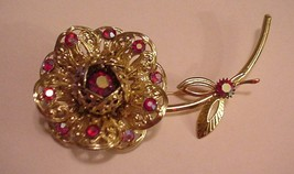 Vintage Sarah Coventry 3D Floral Brooch Pin AB Cranberry Glass Settings - $39.95