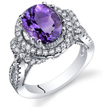 Women's Vintage Sterling Silver Oval Natural Amethyst Halo Ring - $224.87 CAD