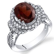 Women's Vintage Sterling Silver Natural Oval Garnet Halo Ring - $187.39 CAD