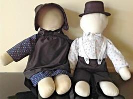 AMISH DOLLS Traditional Faceless Vintage Boy & Girl Hand Made Folk Art P... - $56.84