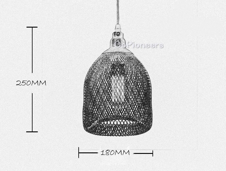 Vintage Industrial Pendant Light With Metal Mesh And Wire
