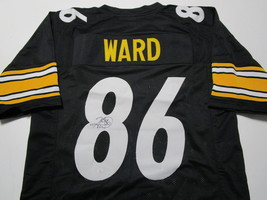 HINES WARD / AUTOGRAPHED PITTSBURGH STEELERS BLACK CUSTOM FOOTBALL JERSEY / COA image 1