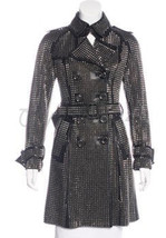 Philip Plein Women Black Punk Rock Full Metal Studded Belted Leather Trench Coat - $529.99
