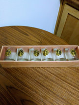 Vintage Raised Medallion Coat Of Arms Coin 6 Gold Shot Bar Glasses Collectible image 4