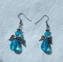 delightful blue angel dangle earrings - $3.95