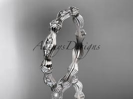 Platinum  diamond leaf and vine wedding band, engagement ring ADLR21B - $1,345.00