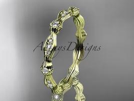 Unique wedding ring, 14k yellow gold diamond leaf and vine wedding band,... - $845.00