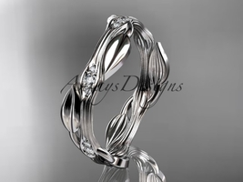 Platinum diamond leaf and vine wedding ring, engagement ring ADLR31B  - $1,125.00