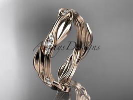 14k rose gold diamond leaf and vine wedding ring, engagement ring ADLR31B - $695.00