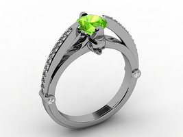 Skull Engagement Ring 18 kt with Peridot Center - $1,995.00