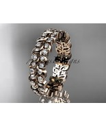 Rose gold bridal band, 14k yellow gold diamond vine,leaf wedding band, e... - $1,485.00