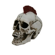 7 Inch Punk Rock Skeleton Skull with Red Mohawk Statue Figurine - $31.18