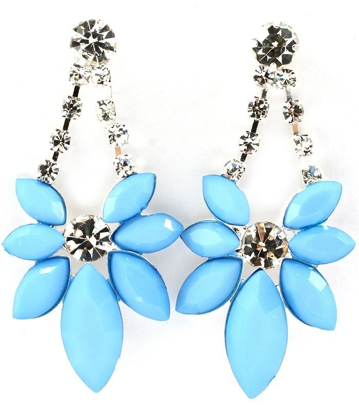Primary image for Faceted Blue Acrylic Marquis Crystal Statement Dangle Earrings