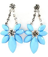 Faceted Blue Acrylic Marquis Crystal Statement Dangle Earrings - $13.49