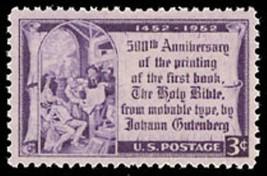 1952 3c Johannes Gutenberg Holy Bible, 500th Anniversary Scott 1014 Mint... - $0.99