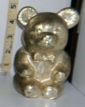 Vintage Silver Colored Metal Sitting Teddy Bear w/Bow Tie Coin Piggy Bank - $9.00