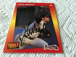 1992  JOHN  SMOLTZ  HAND  SIGNED  AUTO  # 172  TRIPLE  PLAY   LEAF   ATL... - $19.99