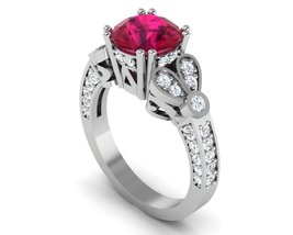 Gothic Engagement Ring in 10 k White Gold with ... - $599.00
