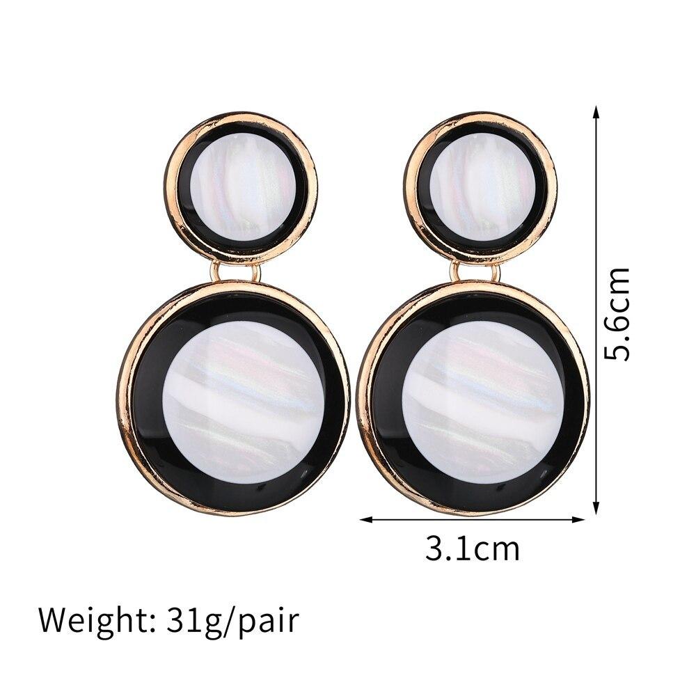 BAHYHAQ - Handmade Different Size Circle Acrylic Earrings Vintage Stud Earrings