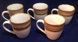 Coffee Mugs (FIVE LOT), White with Brown Rings, China 4971 - $26.99